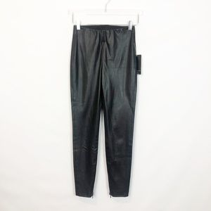 Zara Black Faux Leather Legging Ankle Zip S NWT